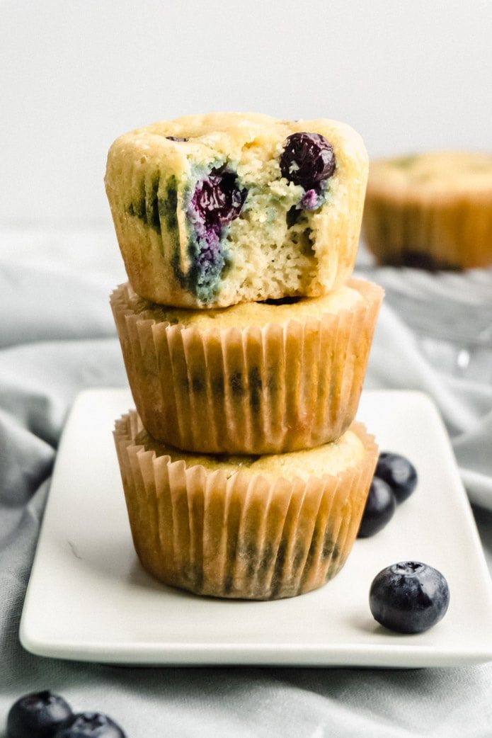 stack of keto blueberry muffins