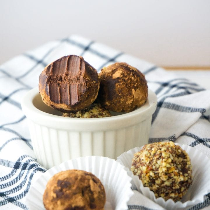 Easy Keto Chocolate Truffles are the perfect snack to satisfy your sweet cravings. Two ingredients, low-carb, gluten-free, and a perfect keto snack. #keto #ketorecipe #fatbomb