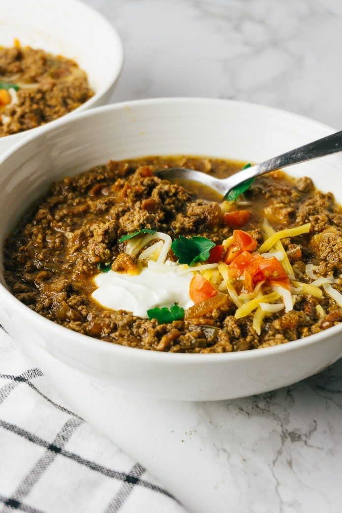bowl of low carb chili with ground beef