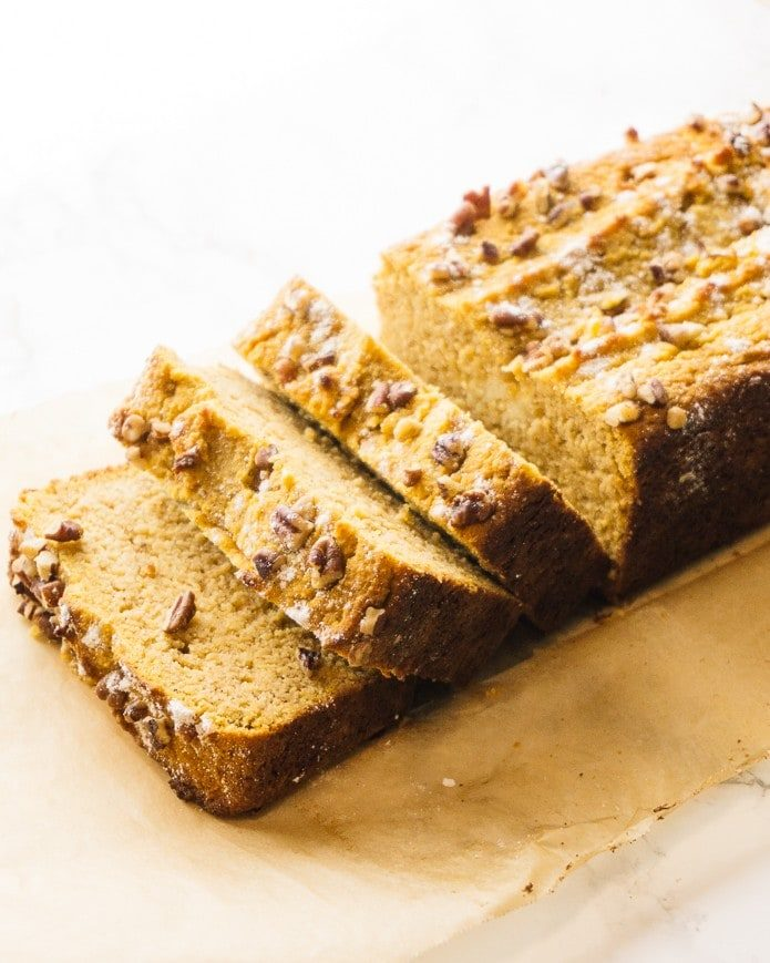 slices of low carb pumpkin bread