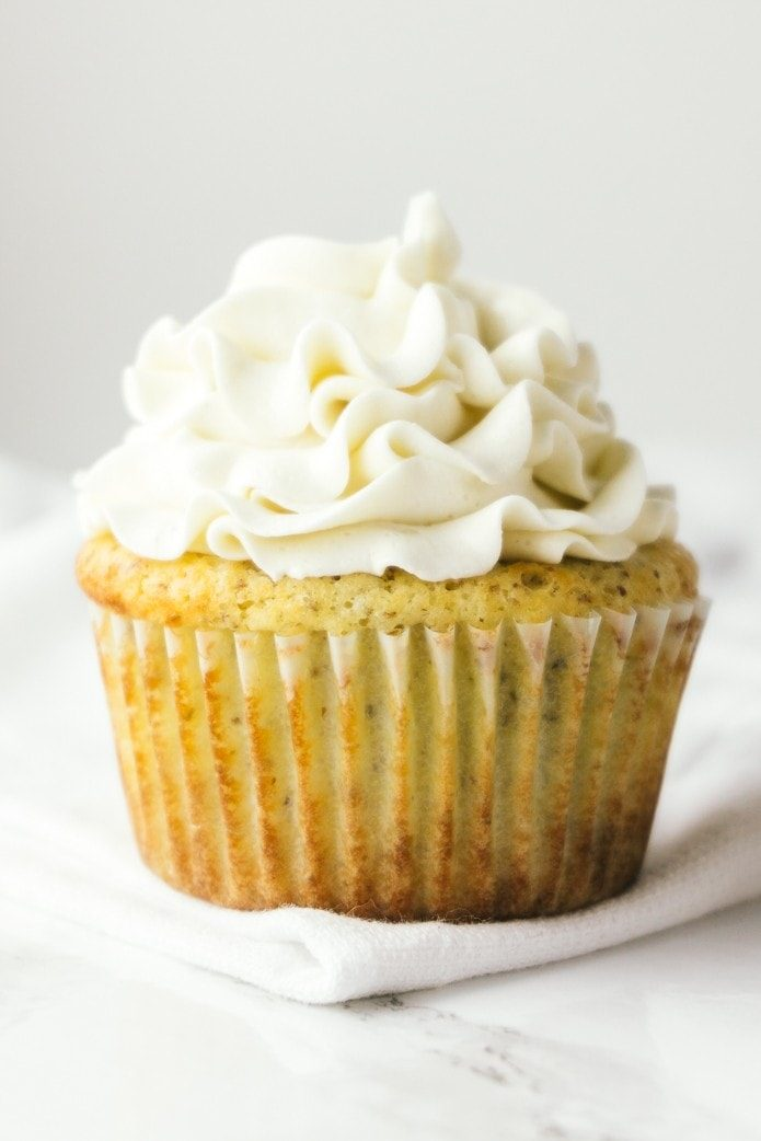 vanilla buttercream frosting on a low-carb cupcake