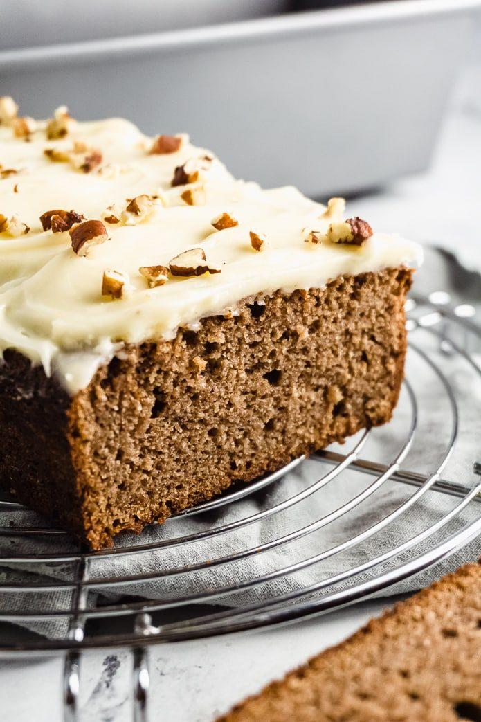 sliced keto gingerbread loaf cake