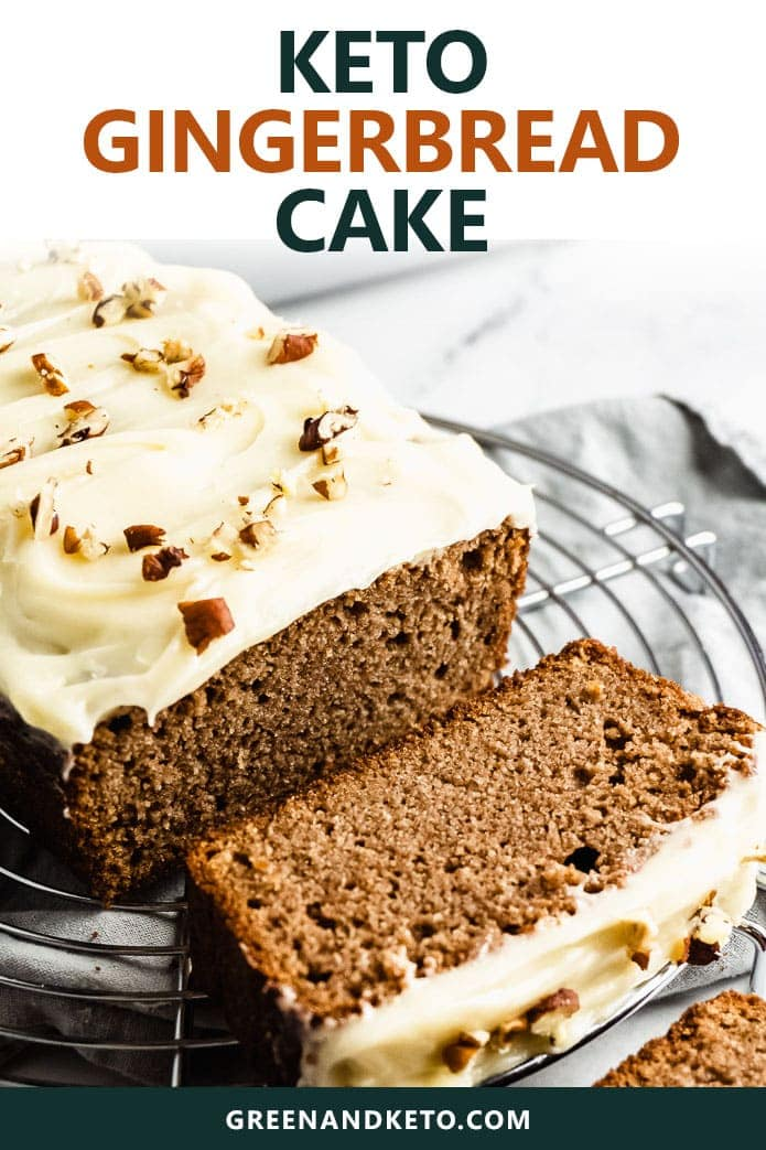 keto gingerbread loaf cake with cream cheese icing