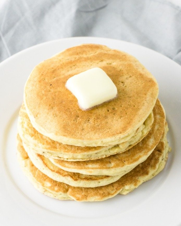 a short stack of keto pancakes with butter