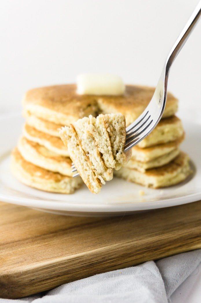 keto pancakes on a fork