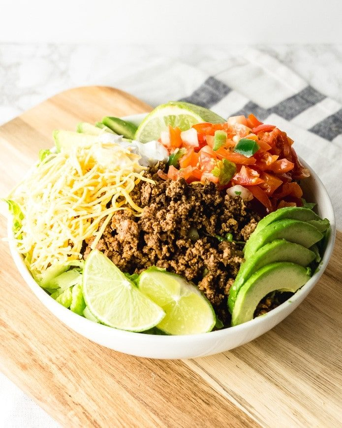 easy keto taco salad recipe made with ground beef
