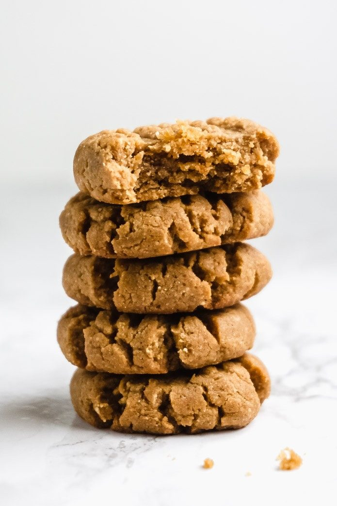 stack of easy peanut butter cookies that are keto