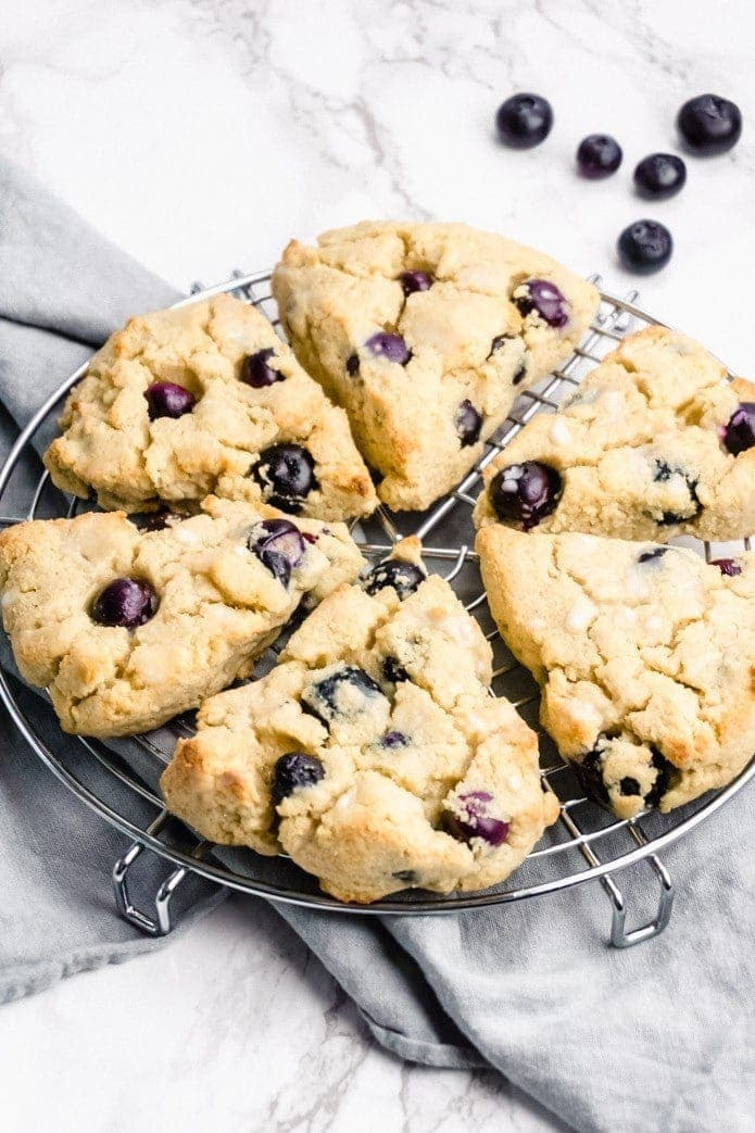 ketogenic blueberry scones on a cooling rack