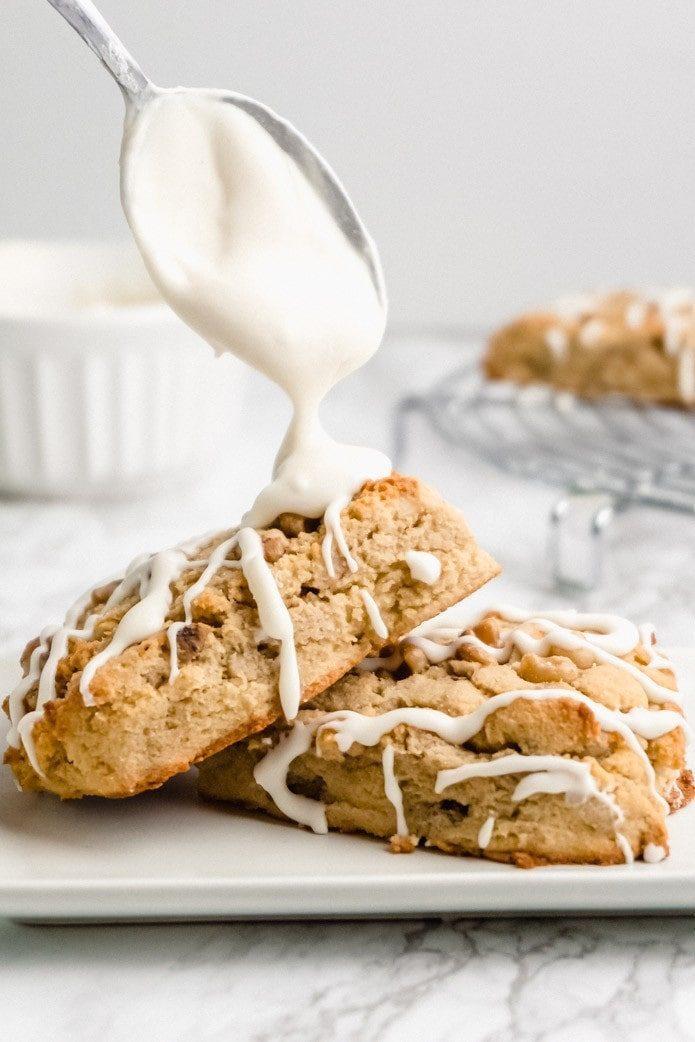 vanilla glaze on maple walnut scones