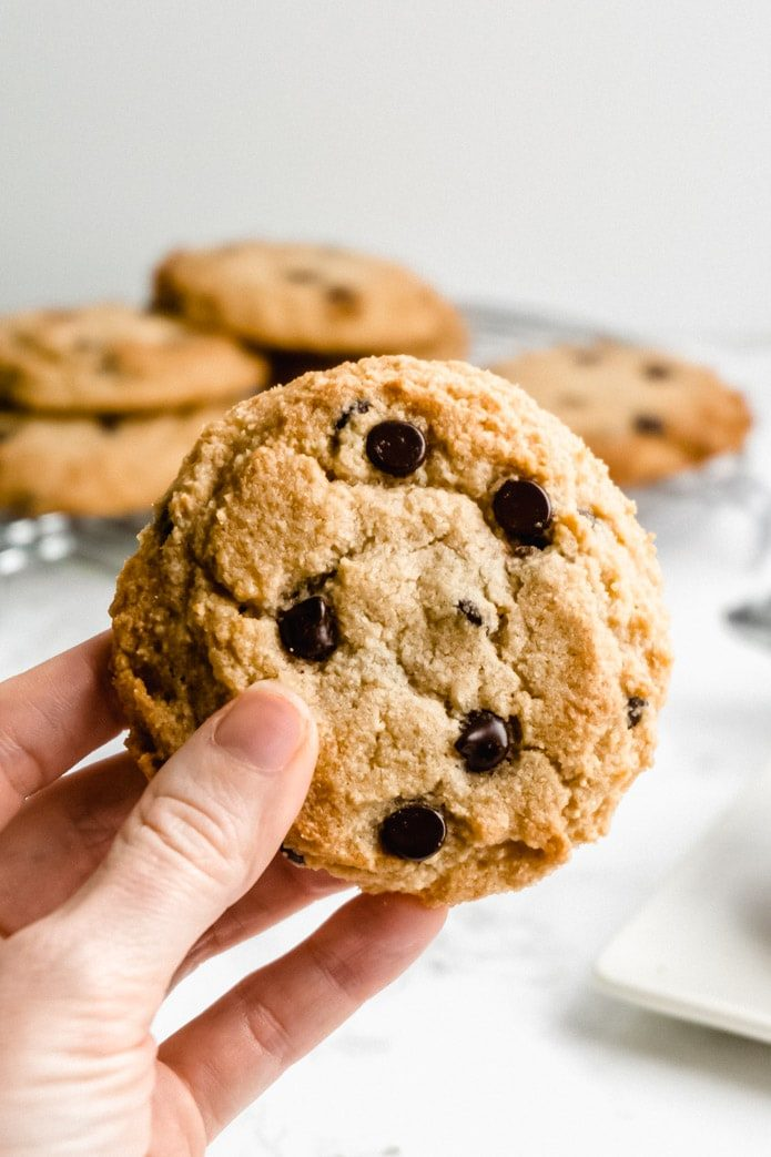 close up of a keto chocolate chip cookie