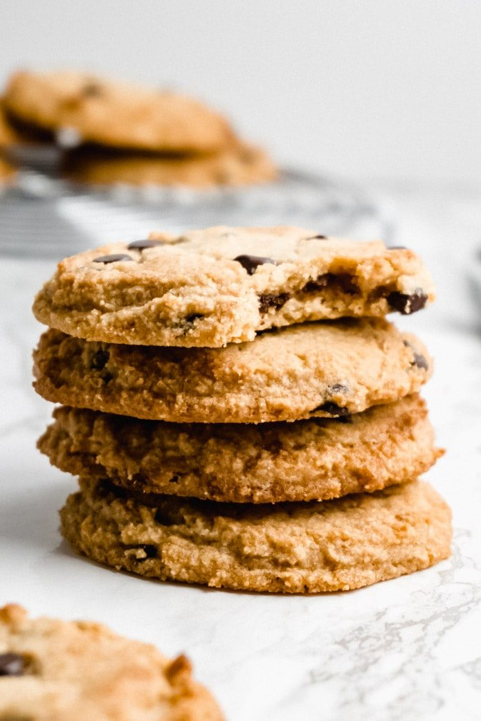 stack of keto chocolate chip cookies