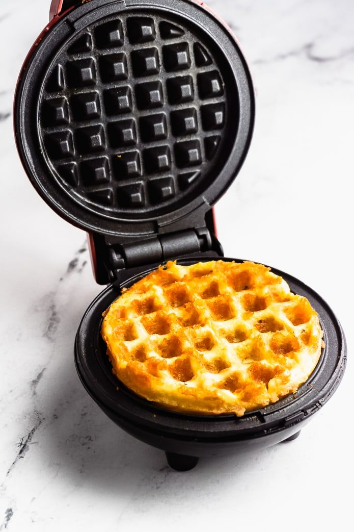 keto waffle in a mini waffle maker