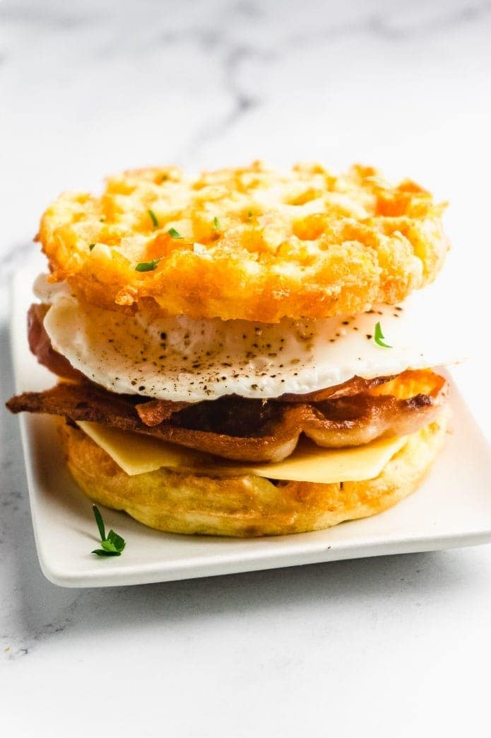 use keto chaffles to make a delicious low-carb breakfast sandwich