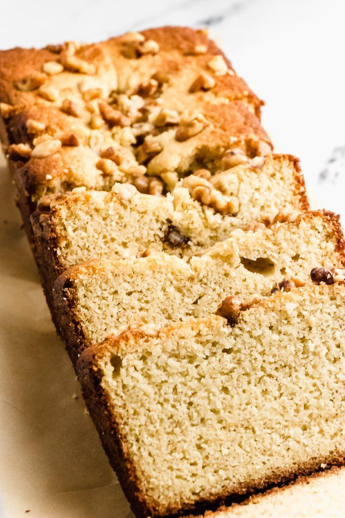 fluffy moist keto banana bread made with almond flour