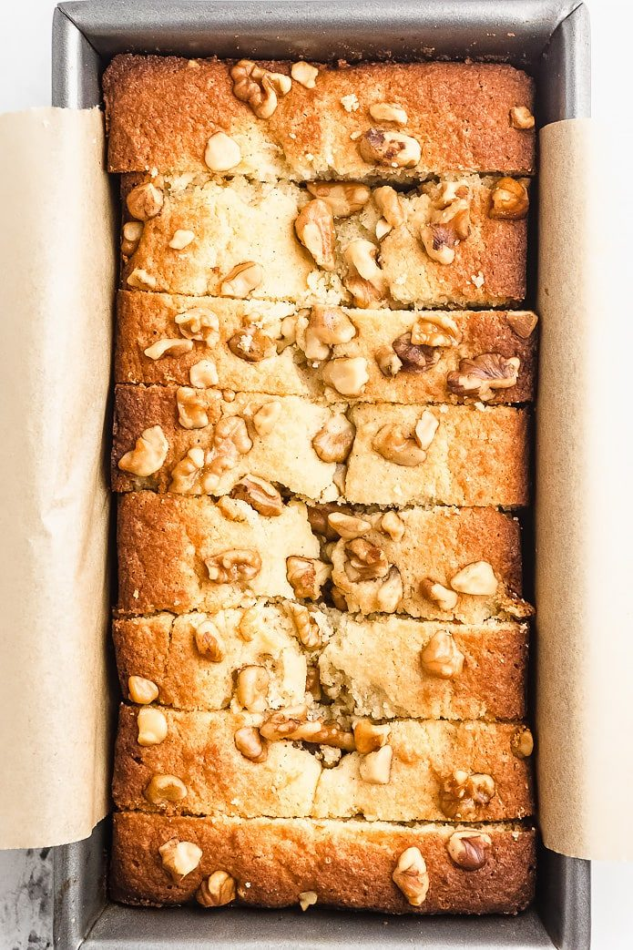 low-carb banana bread made with gluten-free flours