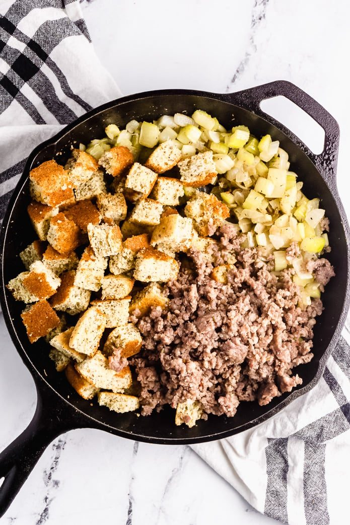 ingredients for keto cornbread with sausage, onion, and celery