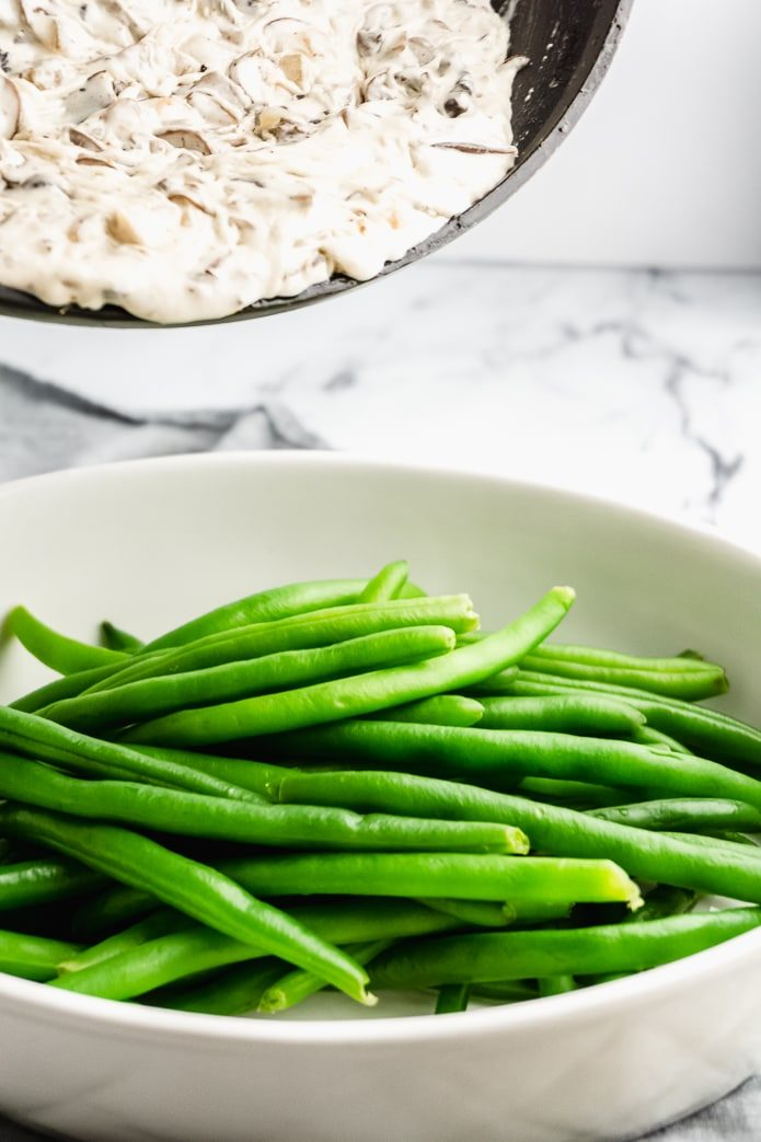 homemade green bean casserole with low-carb mushroom sauce