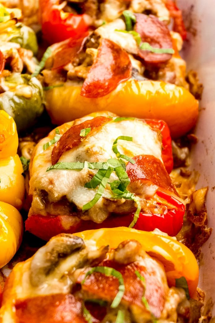 pepperoni, sausage, mushroom, and cheese stuffed peppers