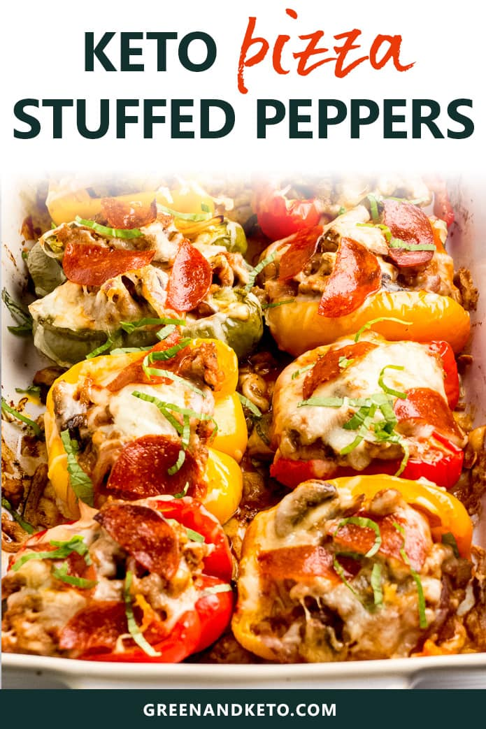 keto pizza stuffed peppers with sausage and pepperoni