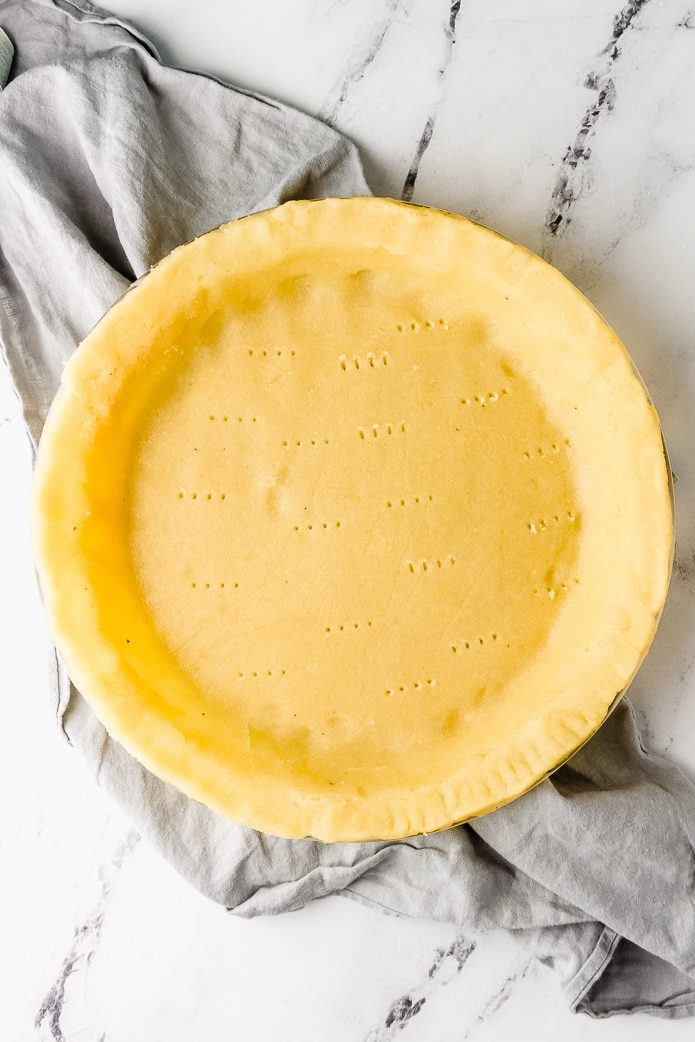 low carb keto pie crust docked before baking