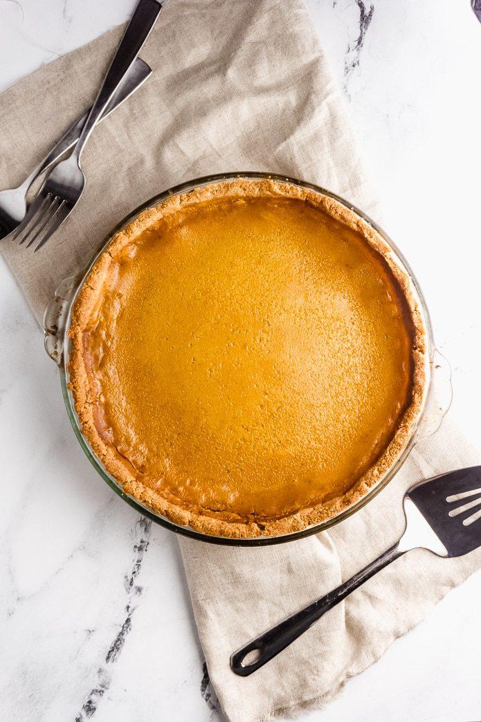 keto pumpkin pie in an almond flour crust