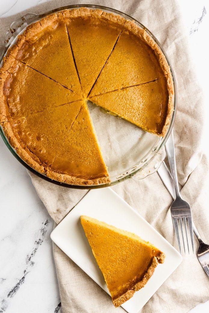 overhead shot of keto pumpkin pie and a slice of pie