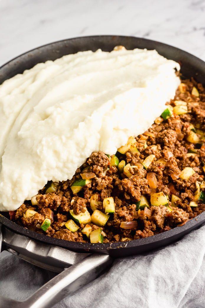 mashed cauliflower topping on keto shepherd's pie
