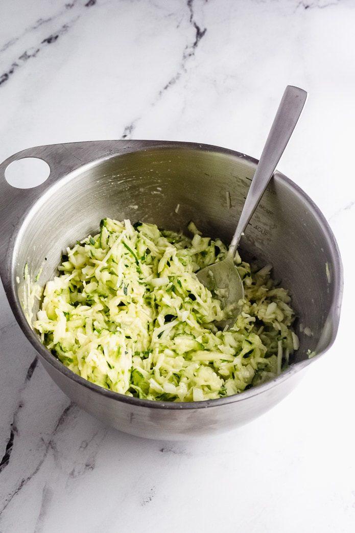 shredded zucchini in a bowl