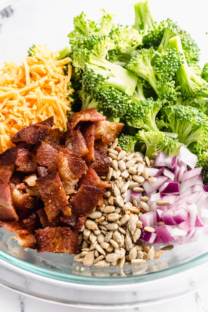 ingredients for low-carb broccoli salad with bacon and cheese