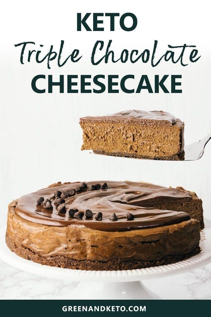 keto triple chocolate cheesecake with shortbread crust and chocolate ganache