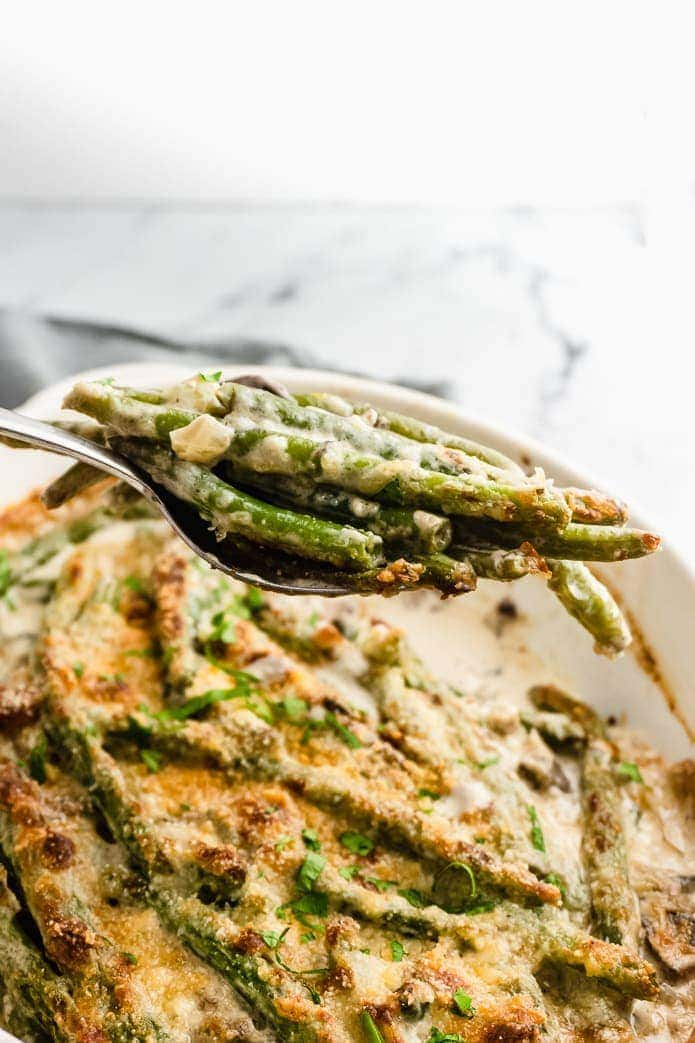keto green bean casserole with crispy onion topping