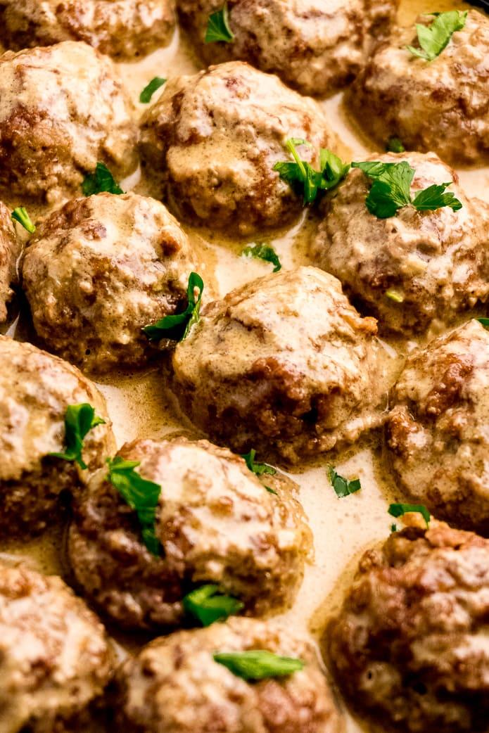 low-carb swedish meatballs in creamy pan gravy