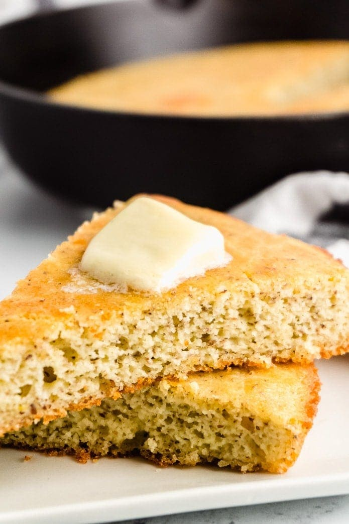 sliced of keto cornbread with butter