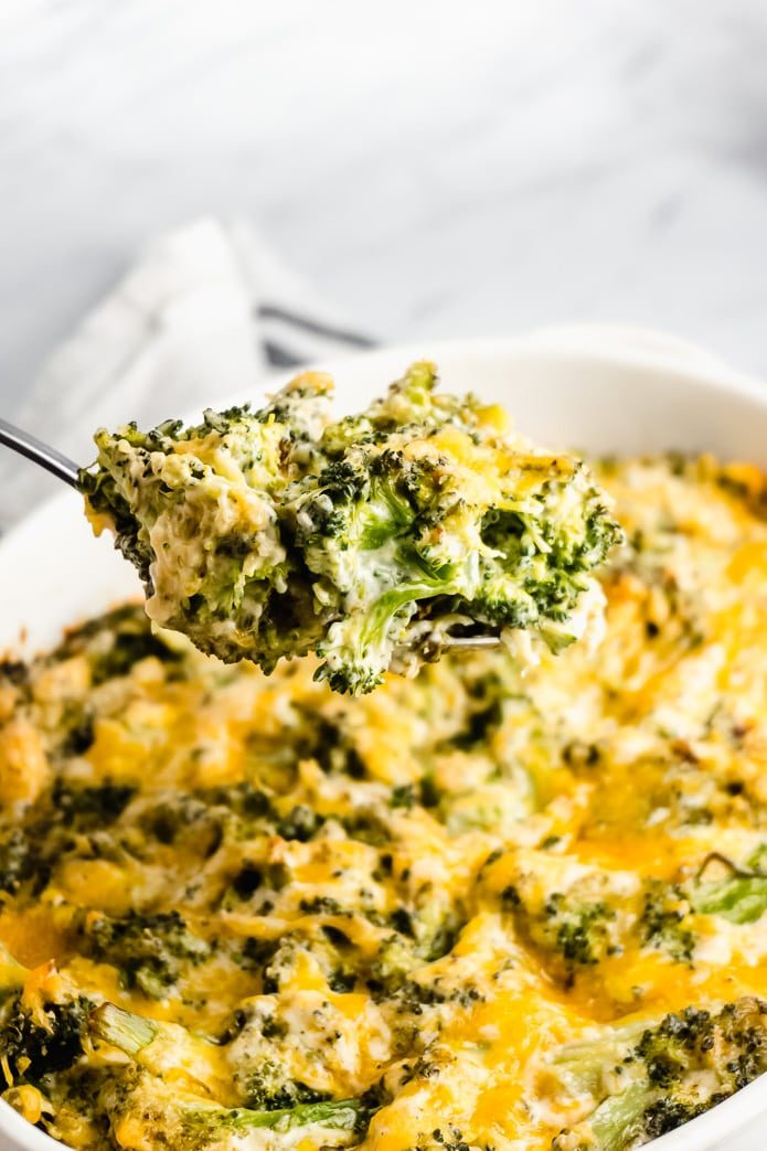 spoon of broccoli and cheese casserole