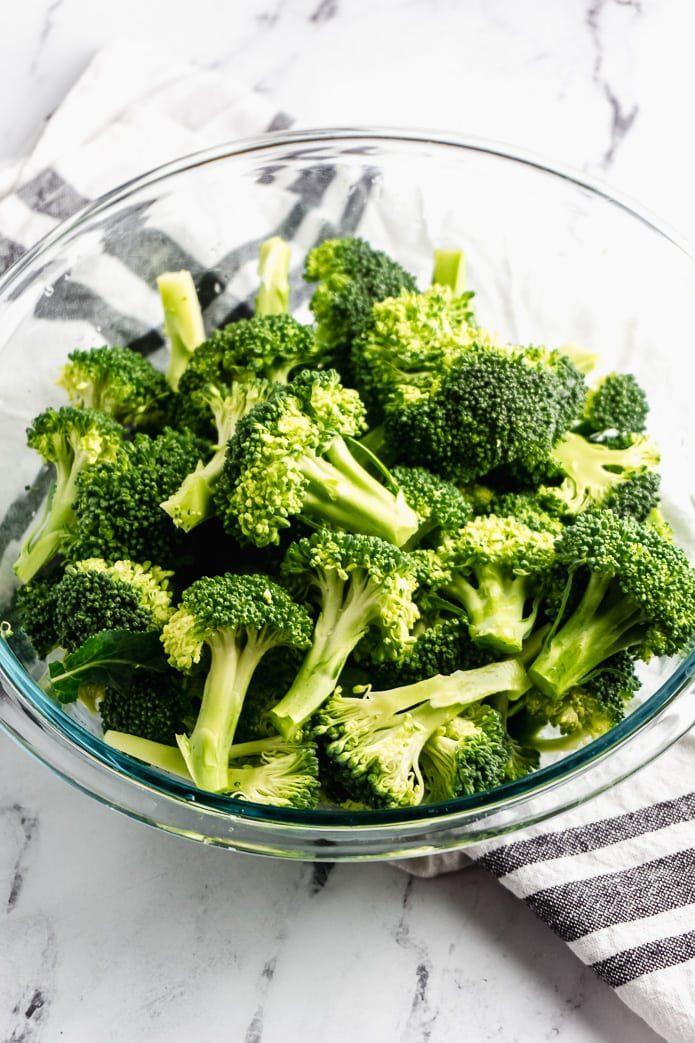 fresh broccoli florets in a bowl