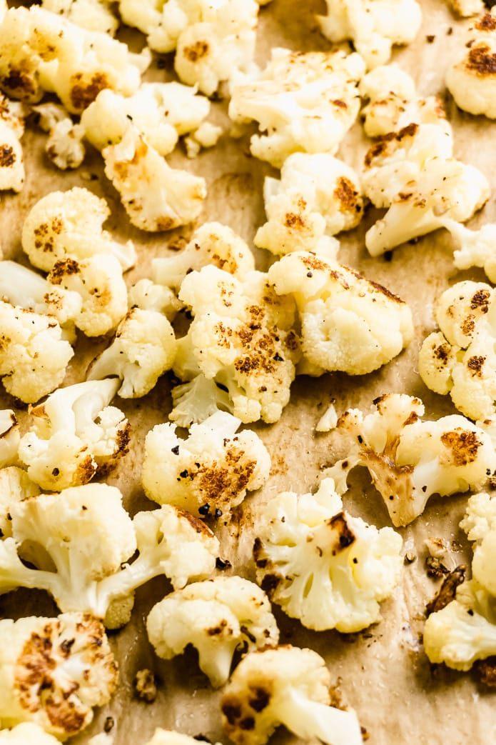 close up of caramelized oven roasted cauliflower