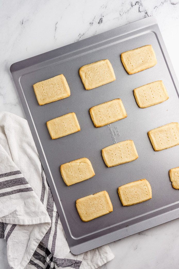 keto shortbread cookies on a baking sheet