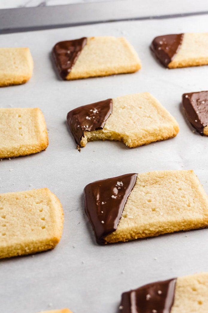 gluten free keto shortbread cookies on a baking sheet