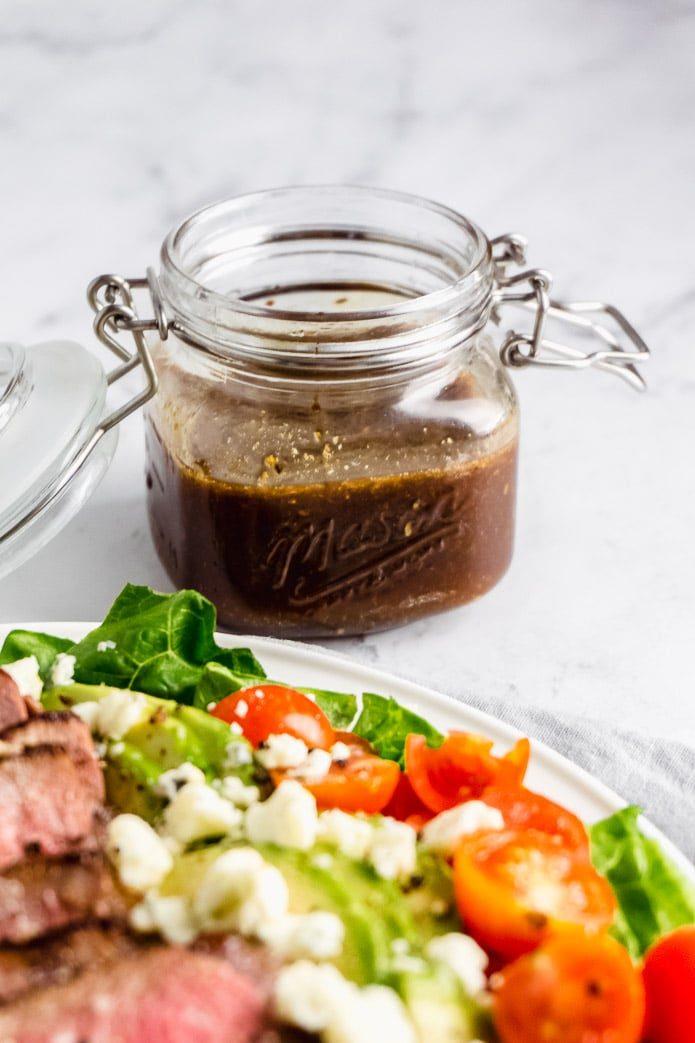 keto balsamic dressing in a mason jar