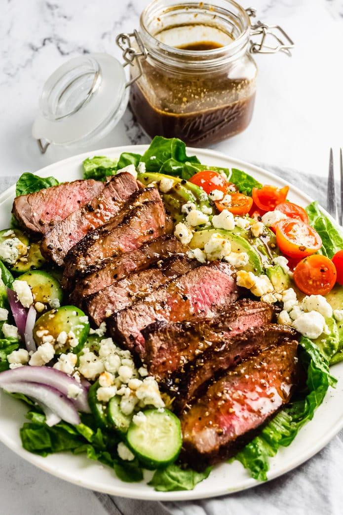 sugar free balsamci vinegarr over a steak salad