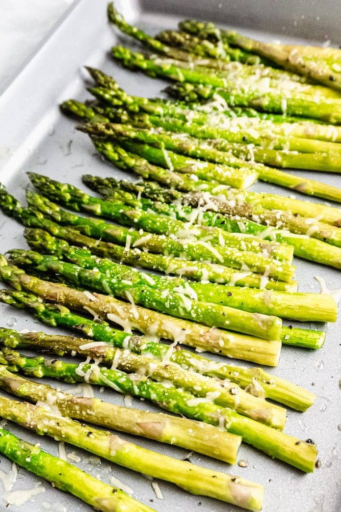 easy oven sheet pan roasted asparagus with low-carb parmesan cheese