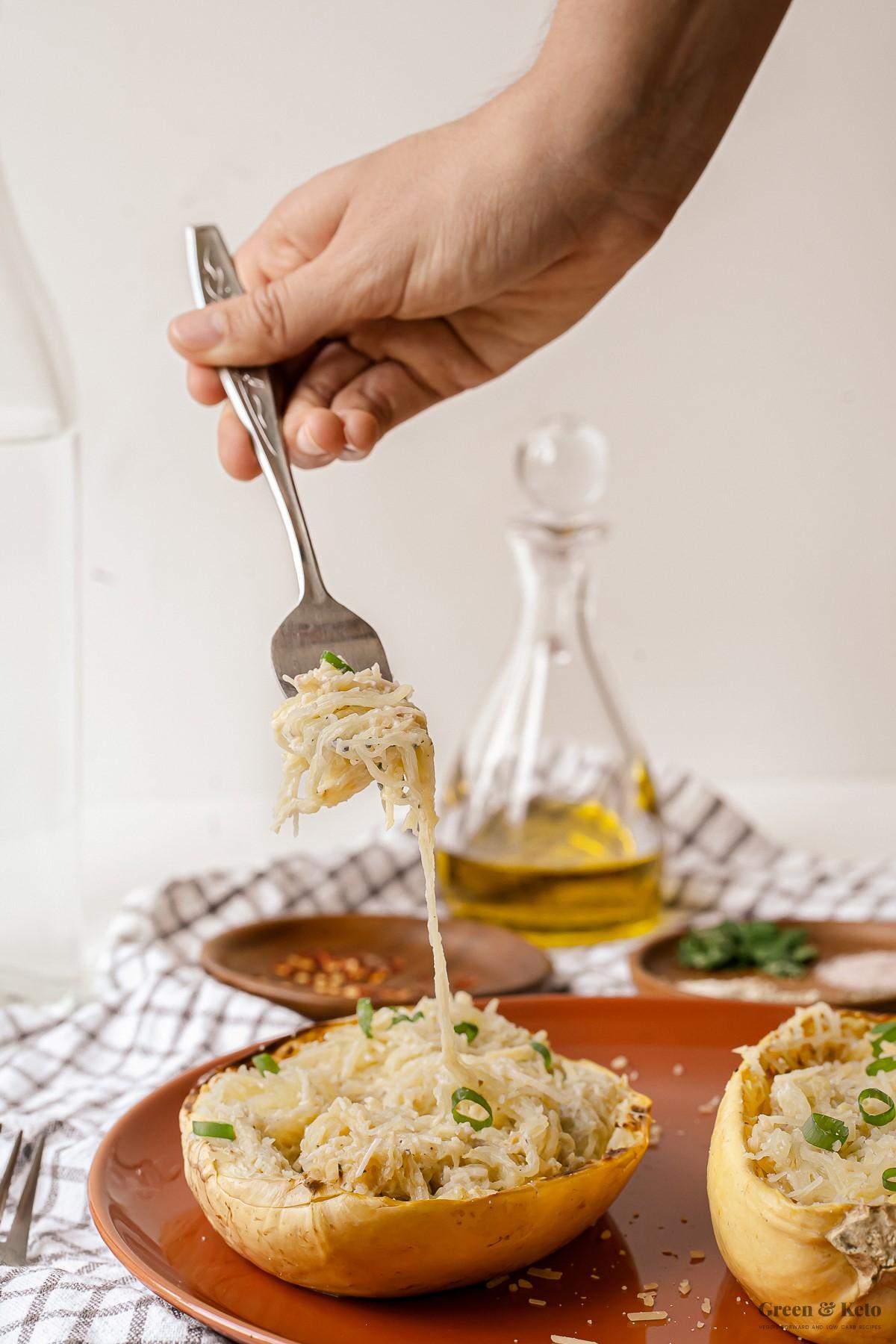 Keto Spaghetti Squash Alfredo